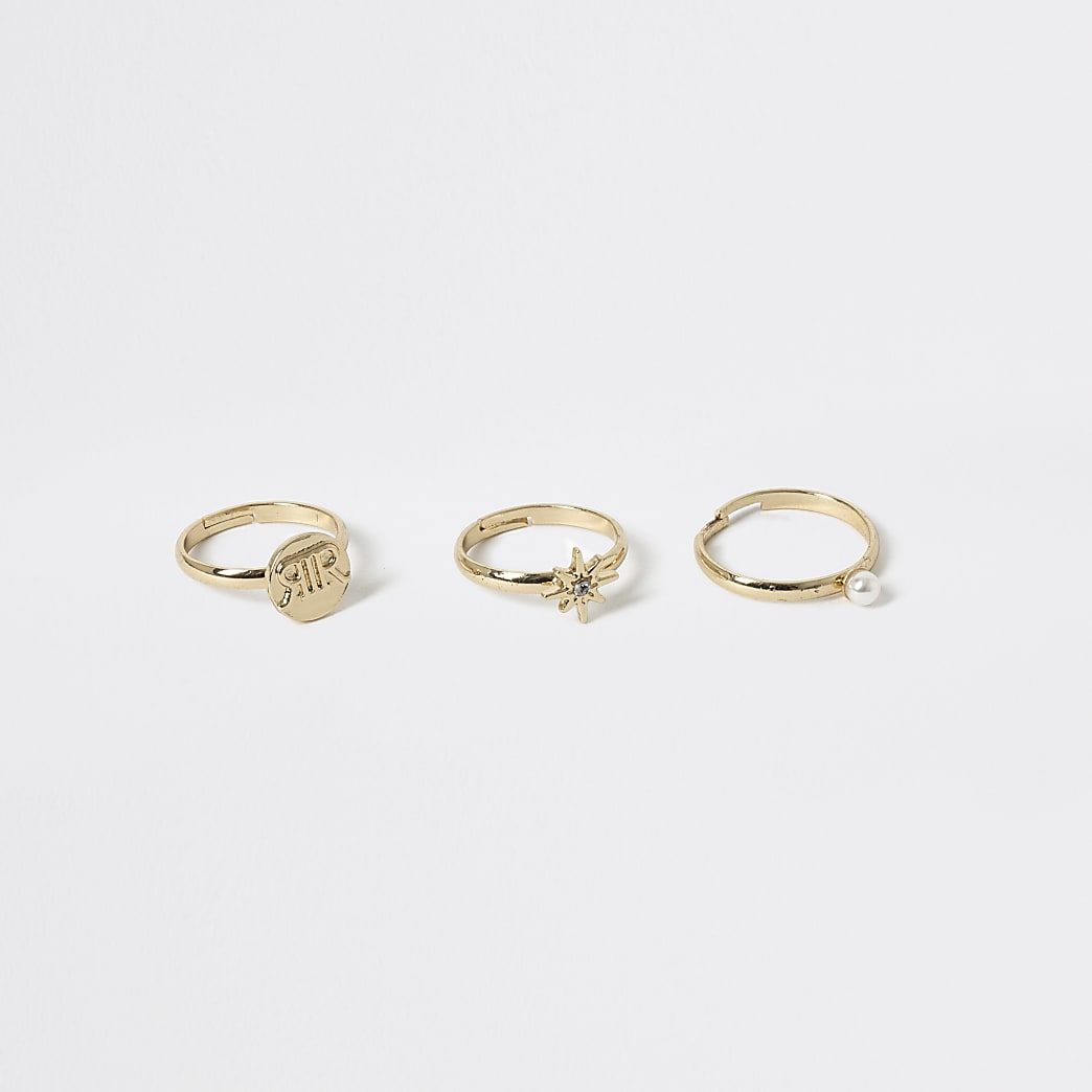 Girls gold tone solitaire rings 3 pack