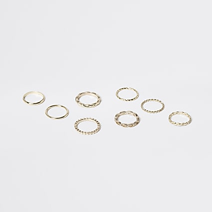 Girls gold tone stacking rings 8 pack