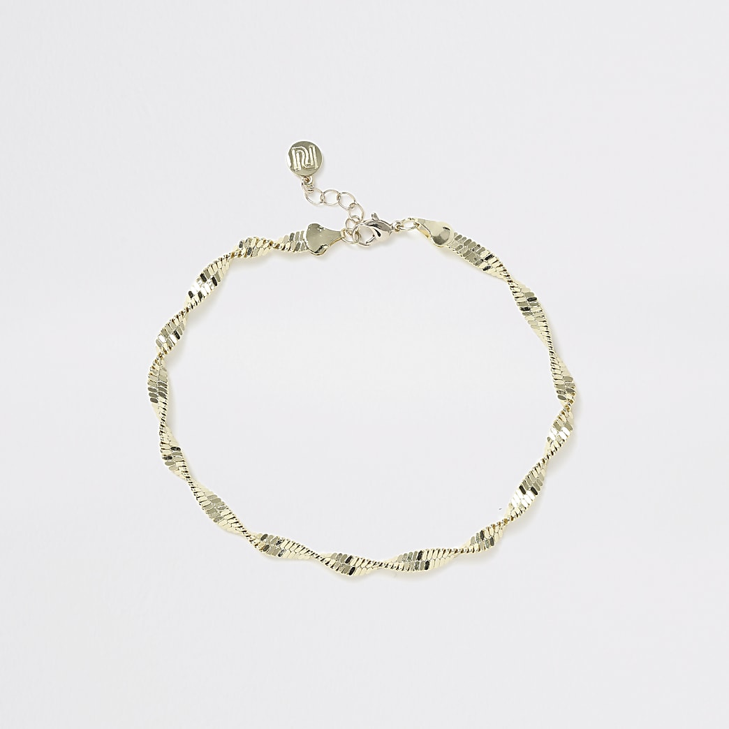 Girls gold twist chain choker necklace