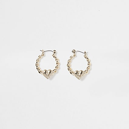 Girls gold twist RI heart hoops