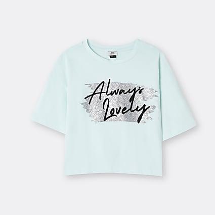 Girls green 'Always Lovely' t-shirt