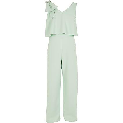 Girls green bow shoulder jumpsuit