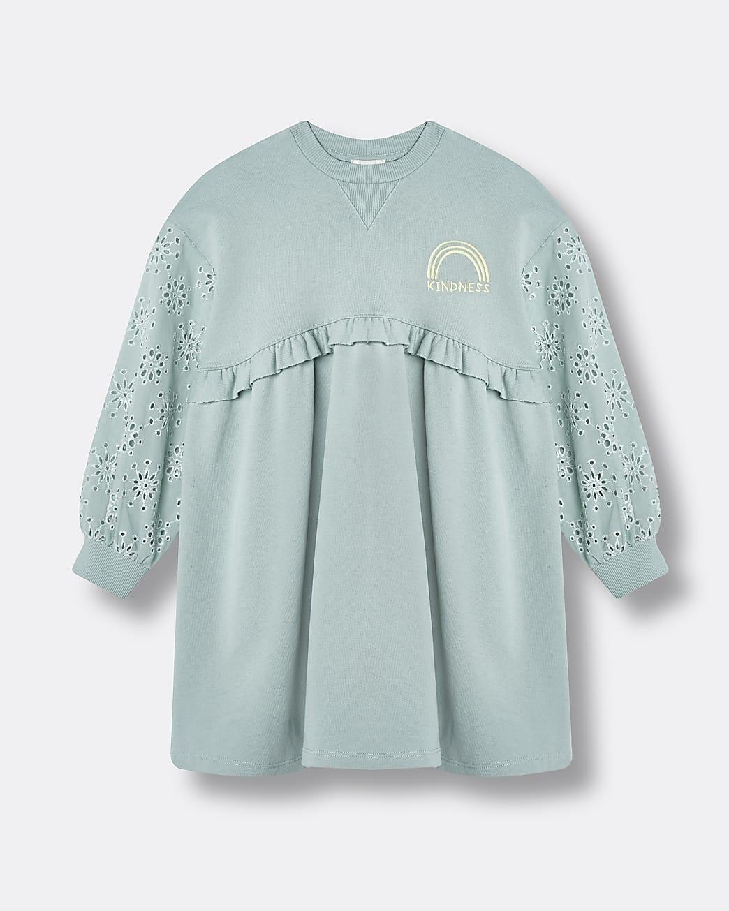Girls green broderie sweater dress