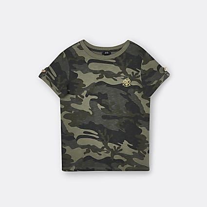 Girls green camo turn up sleeve t-shirt