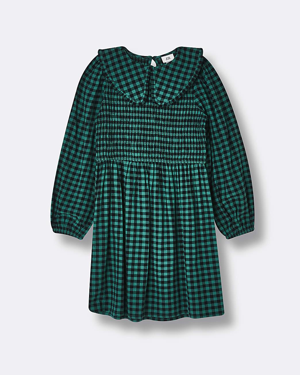 Girls green check collar dress