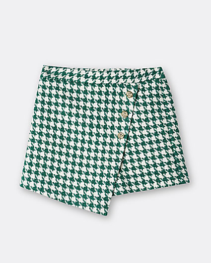 Girls green check print button wrap skort