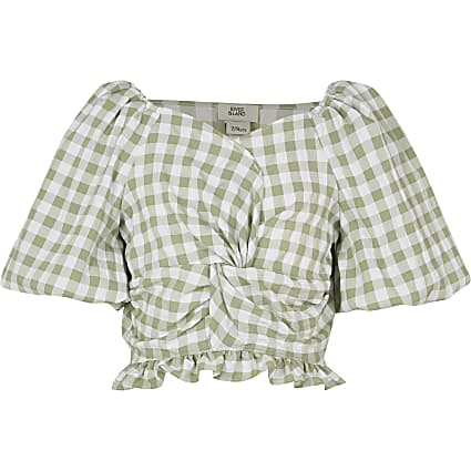 Girls green check print knot front top