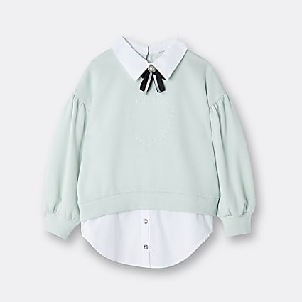 Girls green collar hem sweatshirt