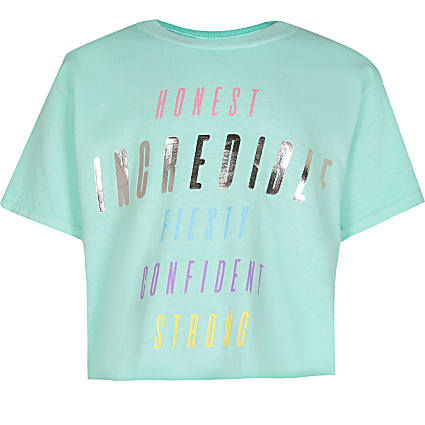 Girls green 'confident' graphic tee