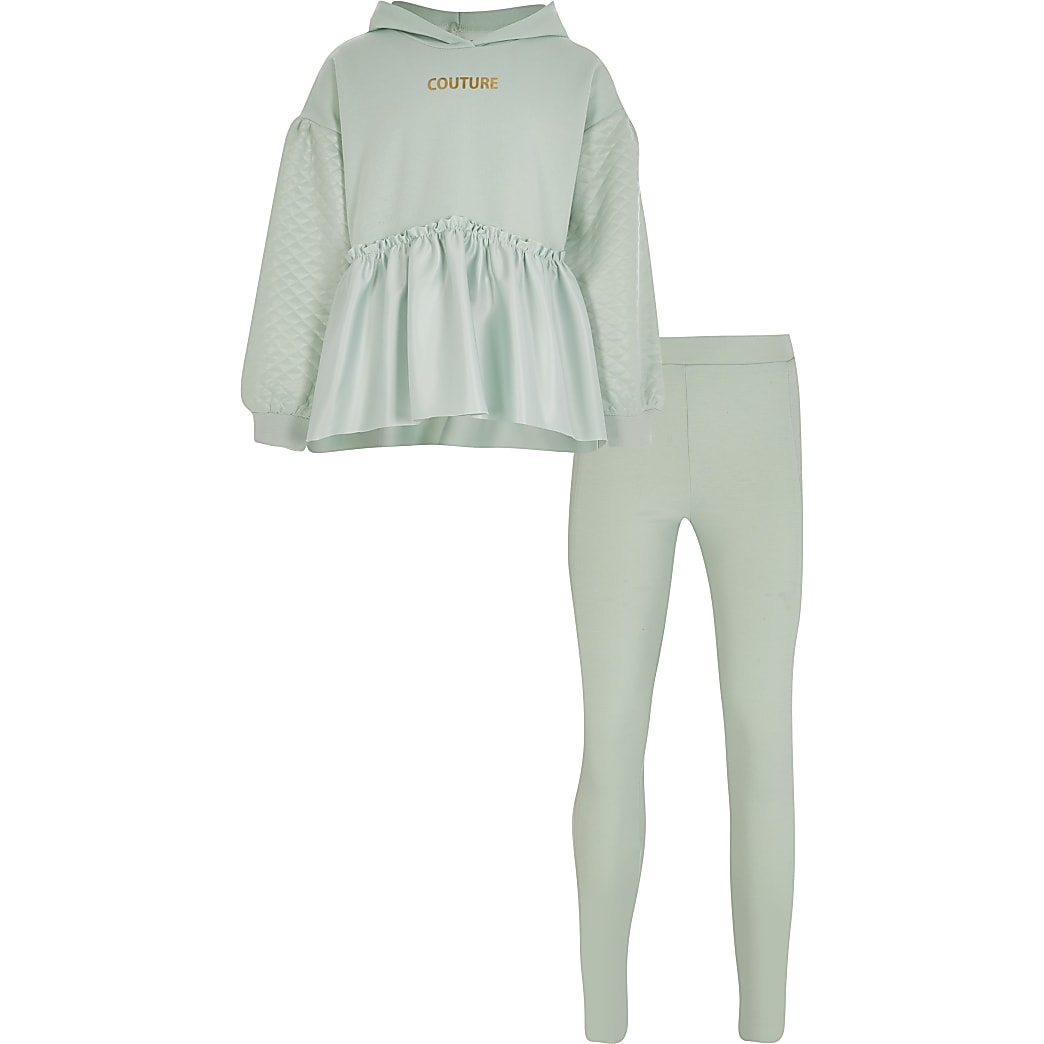 Girls green 'Couture' peplum hoodie outfit
