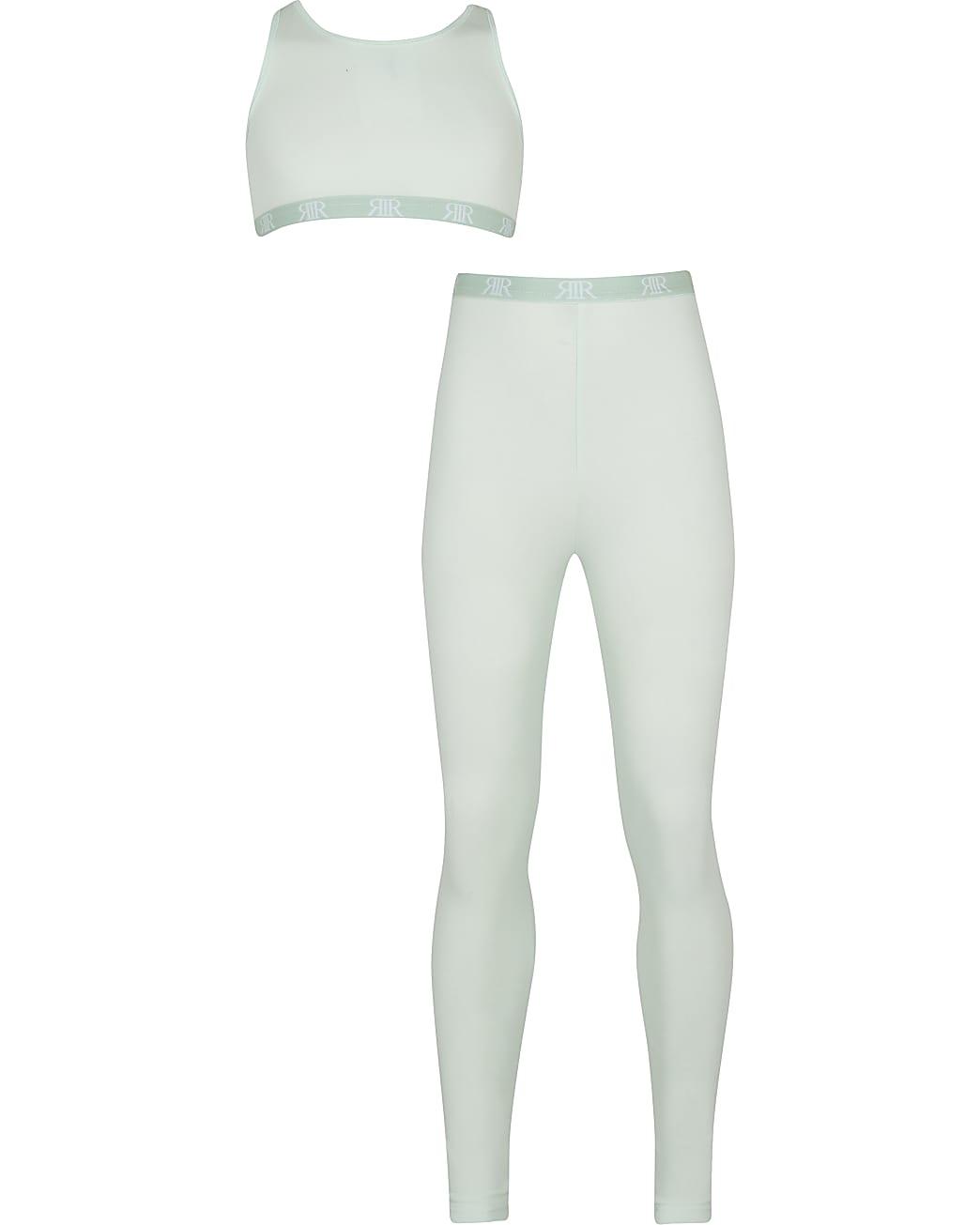 Girls green crop & legging outfit