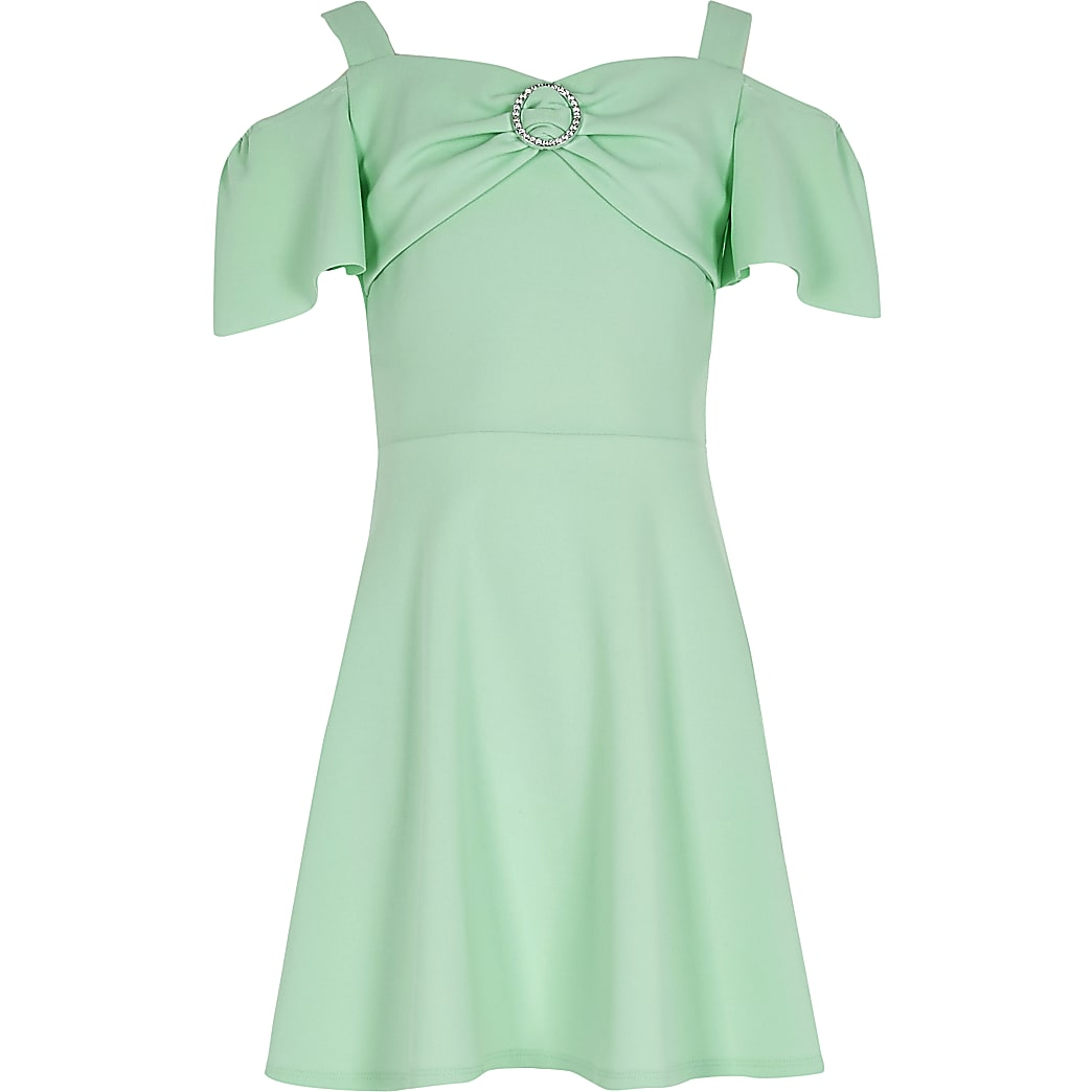 Girls green diamante bardot skater dress
