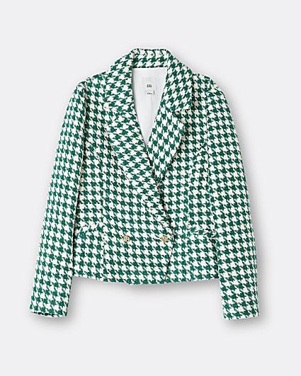 Girls green dogtooth print blazer