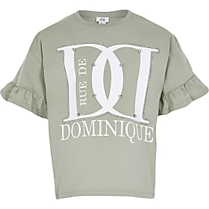 Girls green 'Dominique' diamante tshirt