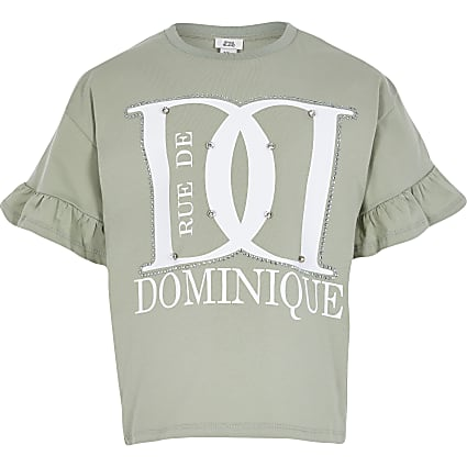 Girls green 'Dominique' diamante tshirt