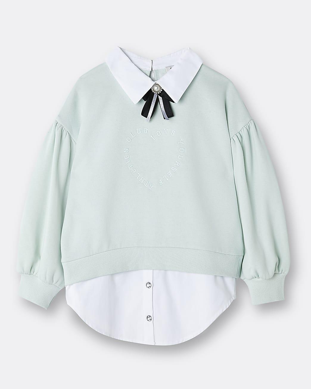Girls green embellished collar bow sweatshirt