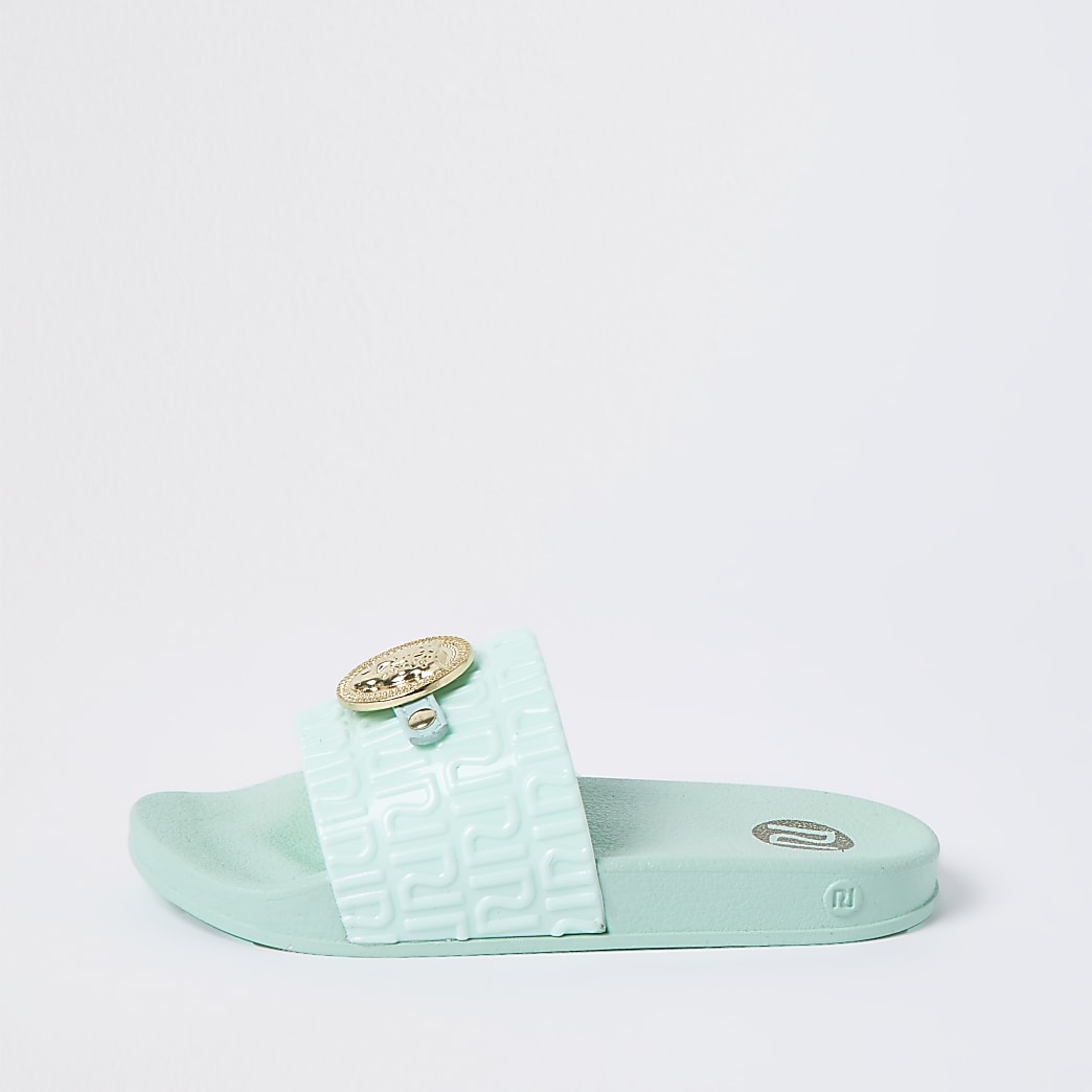 Girls green embellished RI sliders