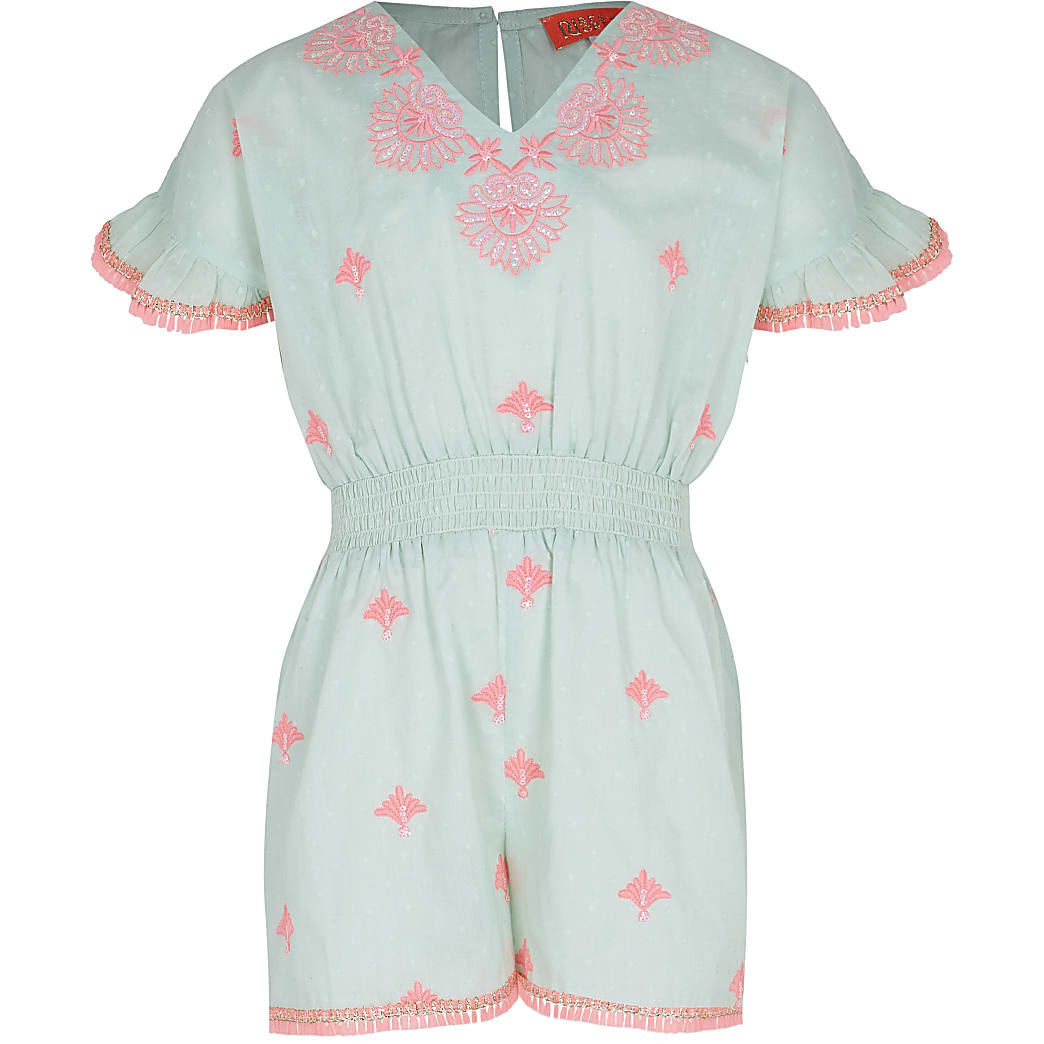 Girls green embroidered beach playsuit