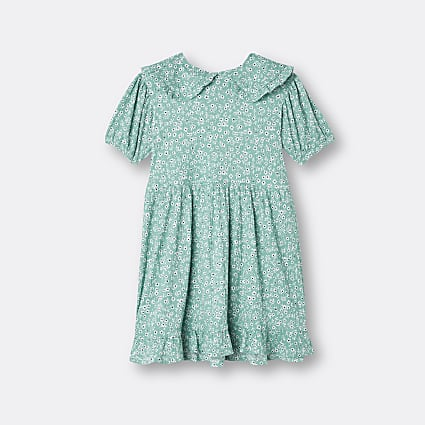 Girls green floral collar smock dress