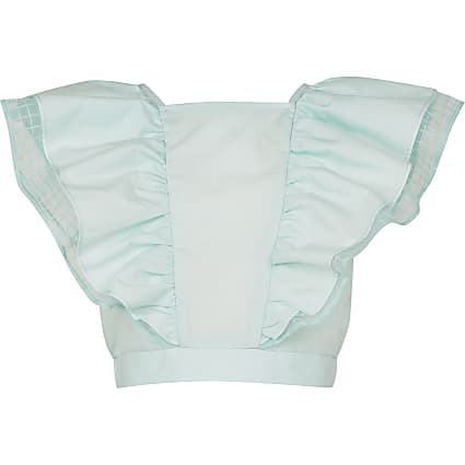 Girls green frill bow back top