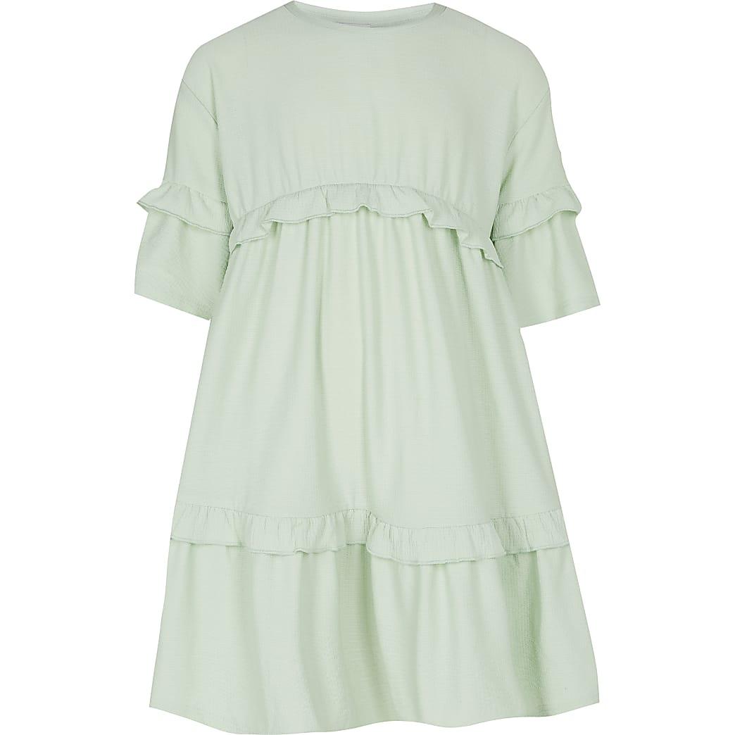 Girls green frill hem t-shirt dress