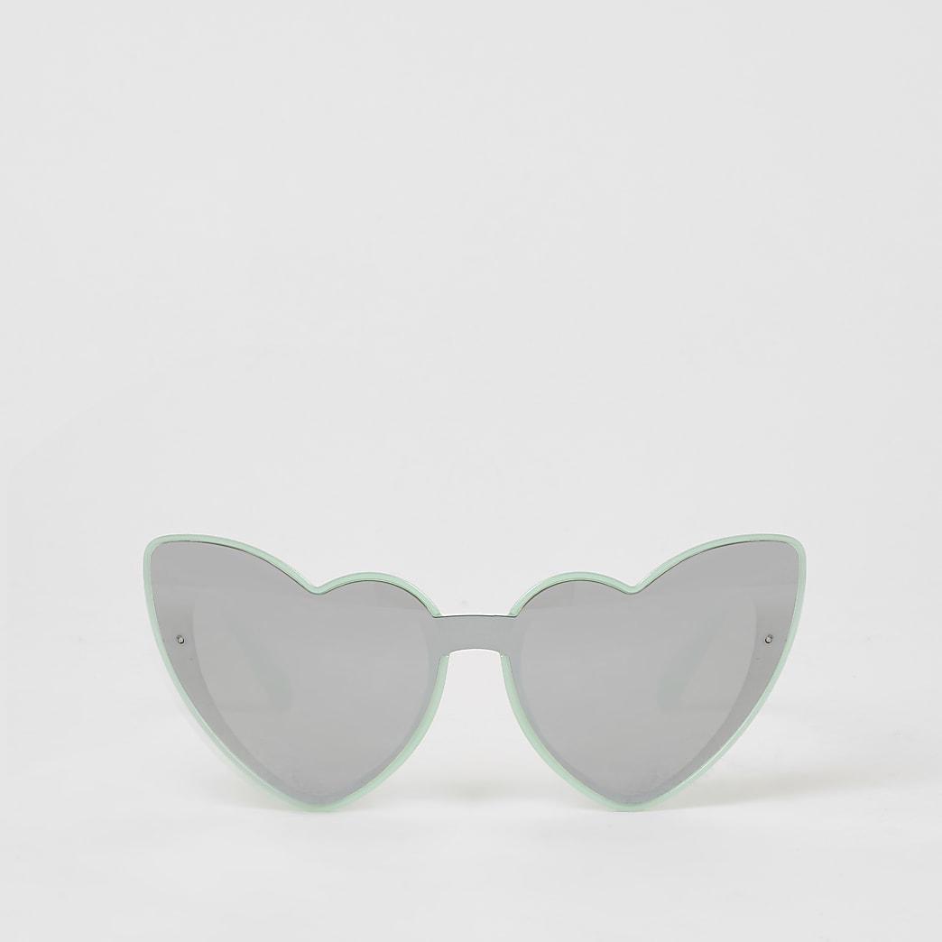 Grüne, verspiegelte Sonnenbrille in Herzform