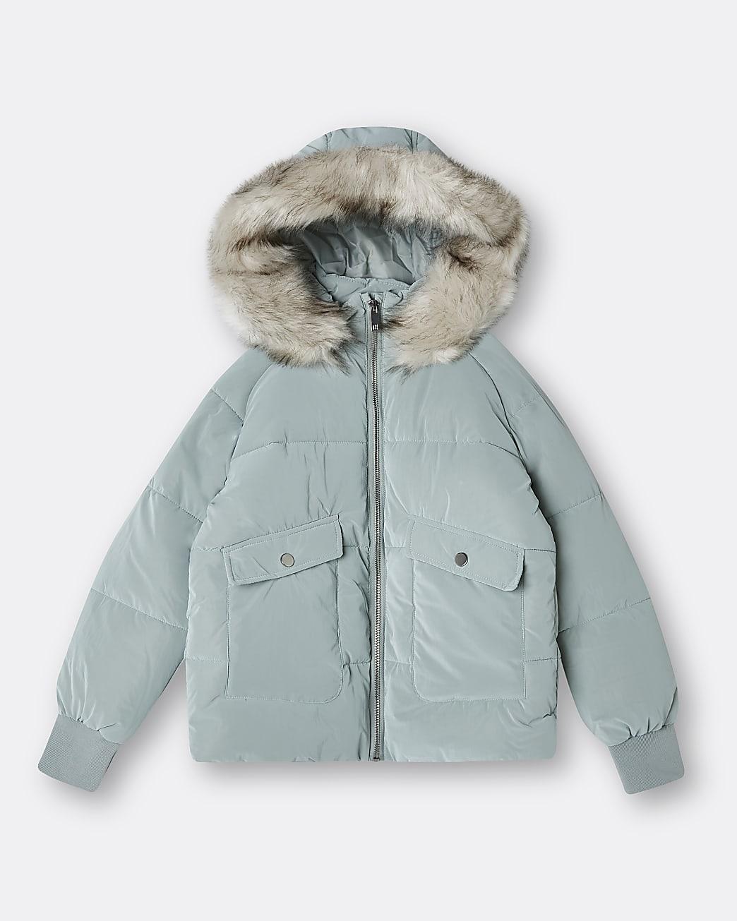 Girls green hooded faux fur puffer coat