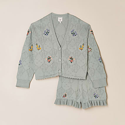 Girls green knitted cardigan and short outfit