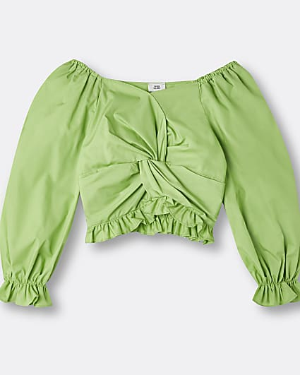 Girls green knot front frill top