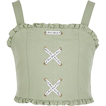 Girls green lace-up denim crop top