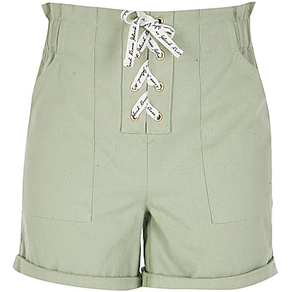 Girls green lace-up shorts