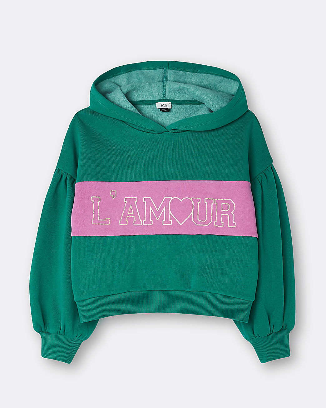 Girls green 'L'amour' colour block hoodie
