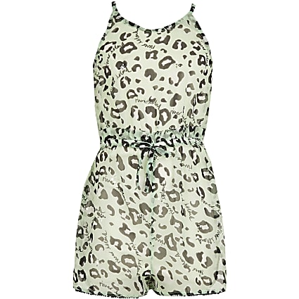 Girls green leopard print paperbag playsuit