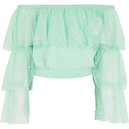 Girls green mesh pearl frill cropped top