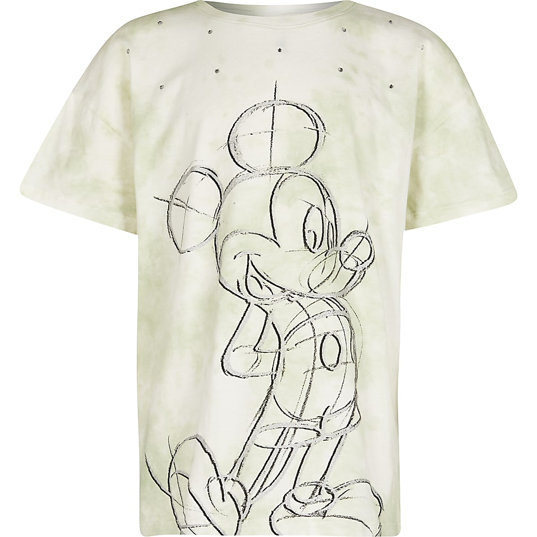 Girls green mickey tie dye t-shirt
