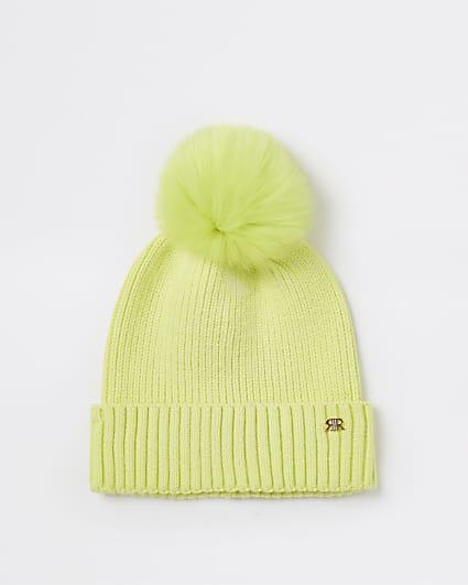 Girls green neon pom pom beanie hat