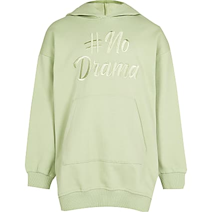 Girls green 'No drama' longline hoodie