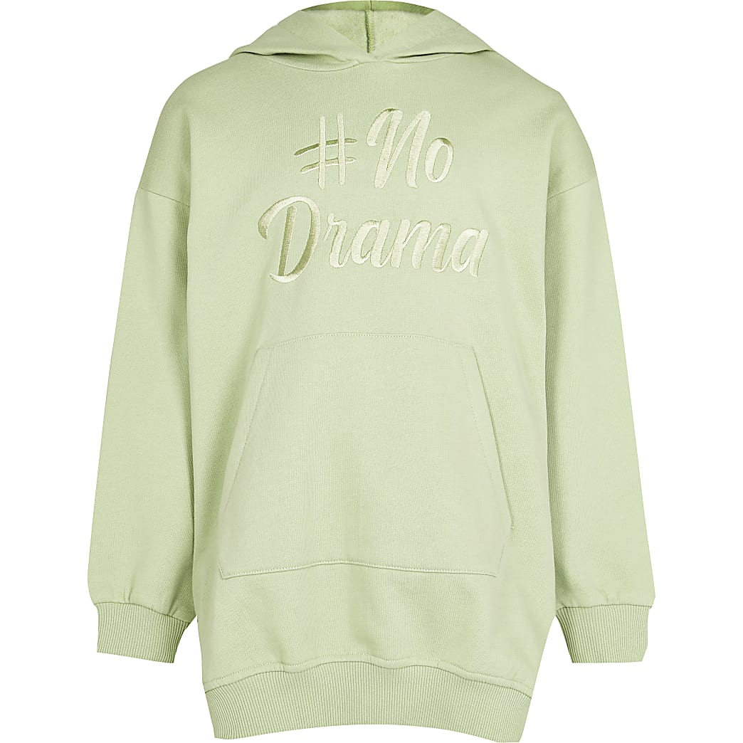 Girls green 'No drama' longline hoodie
