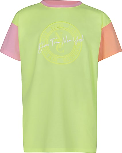 Girls green NY colour block t-shirt