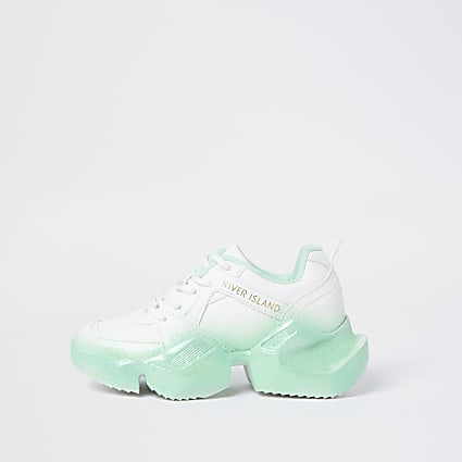 Girls green ombre fade glitter chunky trainer
