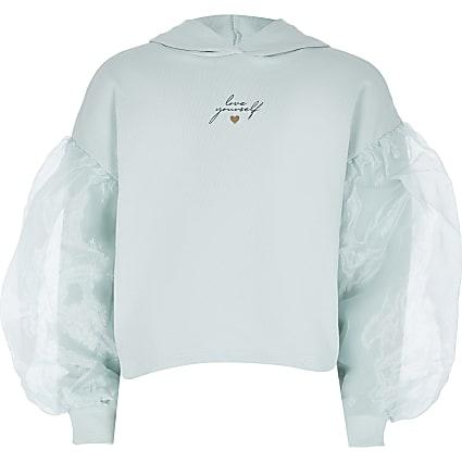 Girls green organza sleeve hoodie