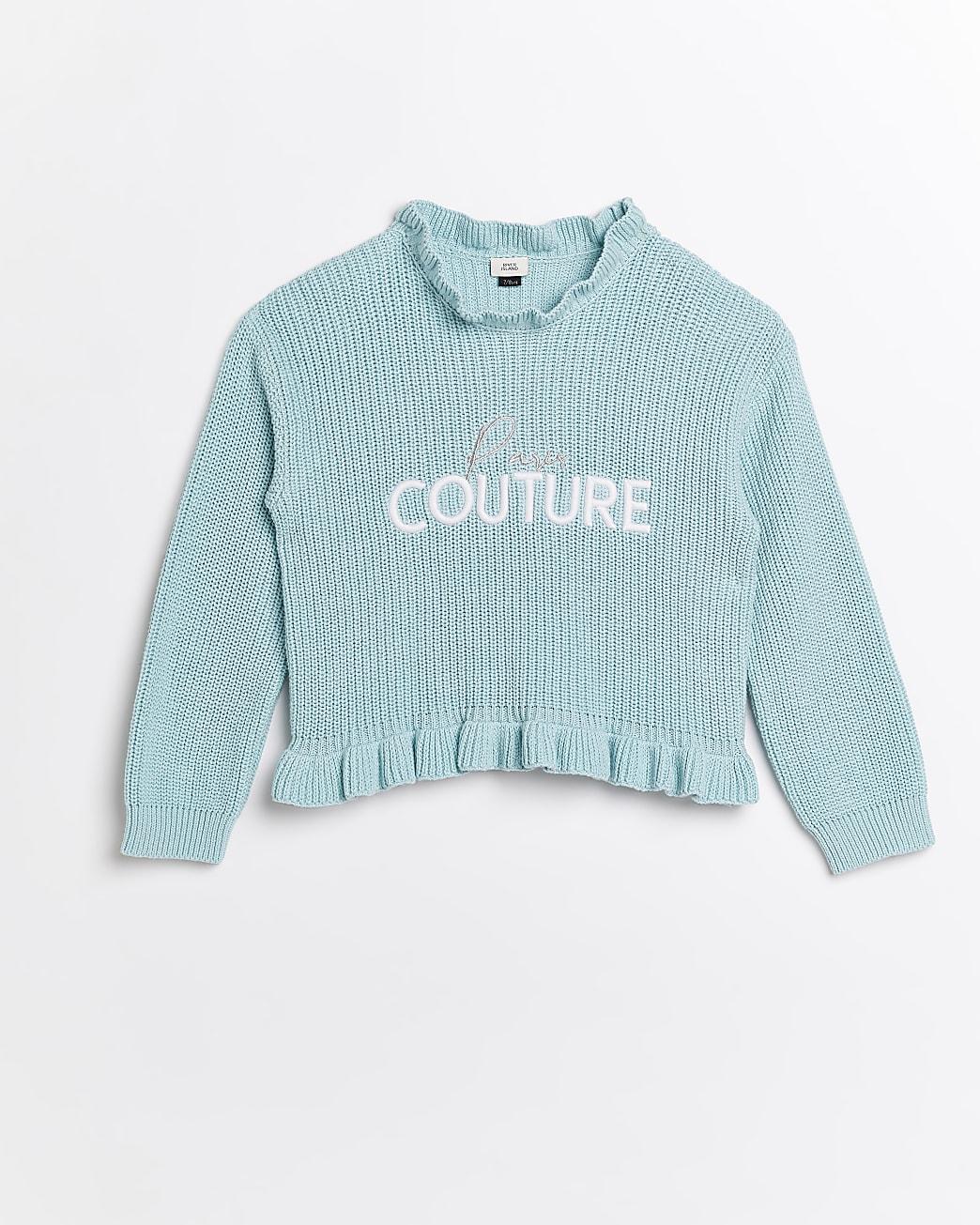Girls green 'Paris Couture' frill knit jumper