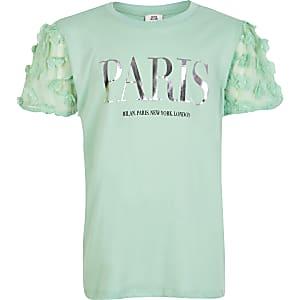 Groen T-shirt met 'Paris'-tekst en bloemen appliqué voor meisjes