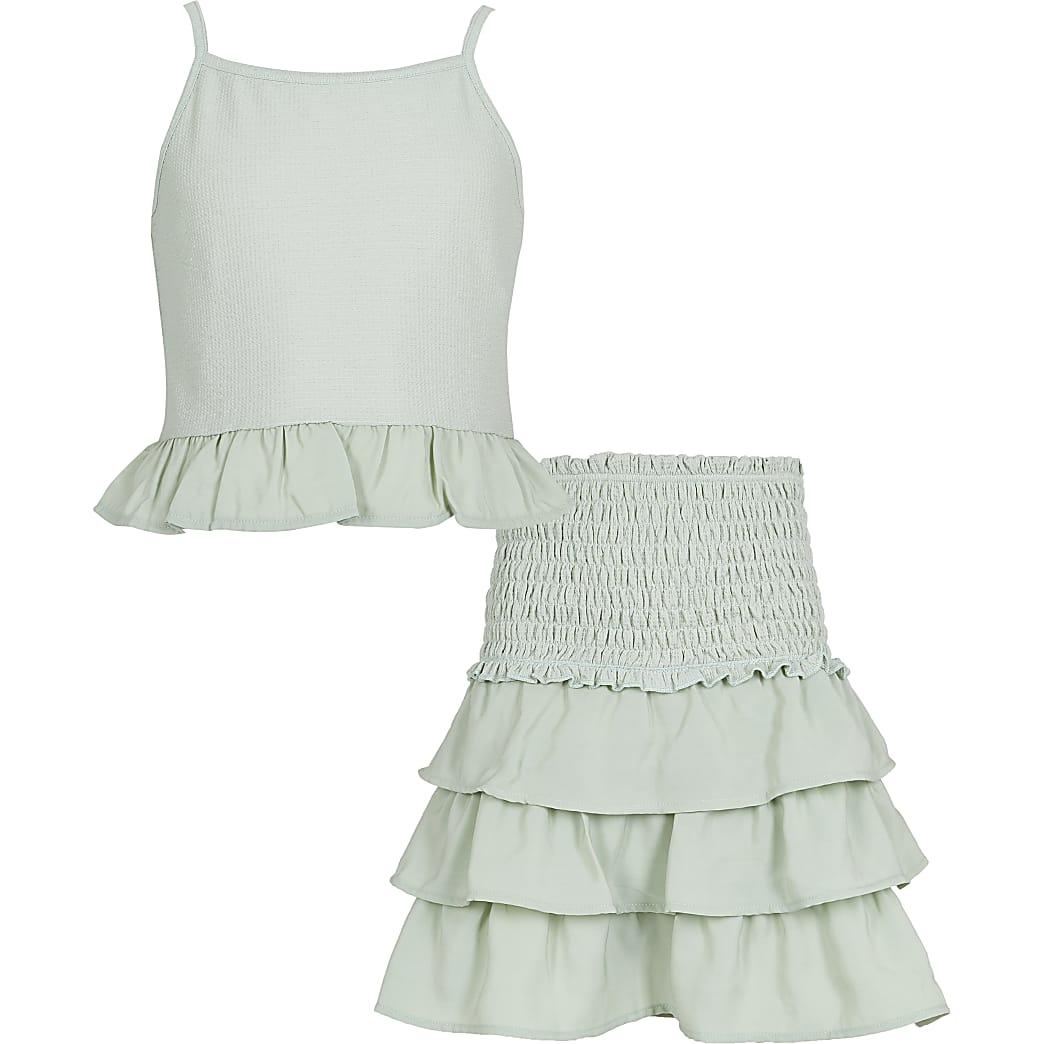 Girls green poplin mix frill outfit