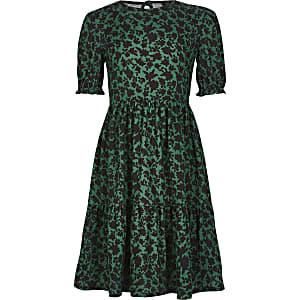 Gesmoktes, bedrucktes Kleid in Grün für Mädchen