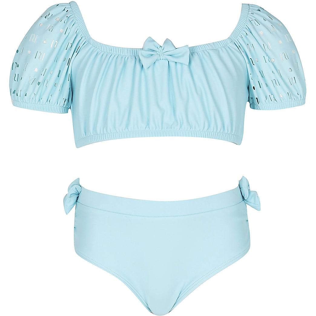 Girls green puff sleeve bikini set