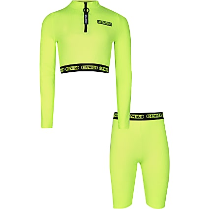 Girls green RI Active  crop and shorts outfit