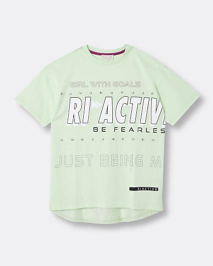 Girls green RI Active embellished t-shirt