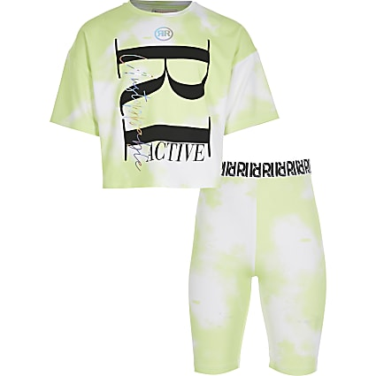 Girls green RI active tie dye t-shirt outfit