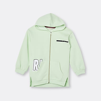 Girls green RI Active zip through hoodie